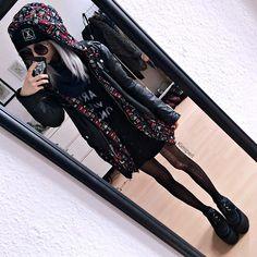 Get this look: http://lb.nu/look/8086408  More looks by Kimi Peri: http://lb.nu/kimiperi  Items in this look:  Ripped Tights, Asos Wulfrun Underground Platform Creepers, Monki Round Shades, Unif Americana Moto Jacket, Monki Black Denim Skirt, Petals And Peacocks Shirt, Second Hand Blue Scarf, Primark London Print Rain Jacket, Long Clothing Logo Beanie   #casual #grunge #vintage #girl #kimiperi #blackrush #blogger #model #witch