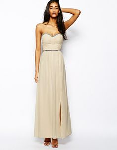 Little Mistress bandeau maxi dress with embellishment - see more at http://themerrybride.org/2014/06/15/possible-bridesmaid-dresses-from-asos-com/