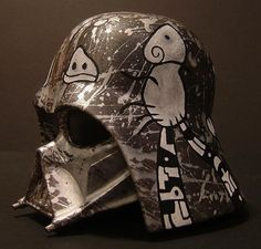 """Custom Painted Vinyl Darth Vader Helmet""  Title: Darth Island  Artist: Mike Capp Vader Helmet, Helmet Paint, Logo Design, Graphic Design, Dark Lord, Bounty Hunter, Selling Art, Star Wars Art, Awesome Things"