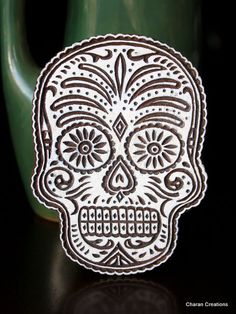 Hand Carved Indian Wood Textile Stamp Block- Sugar Skull