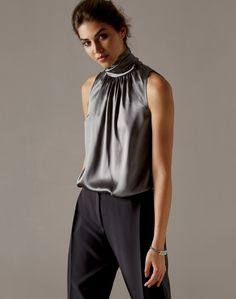 High neck charmeuse blouse