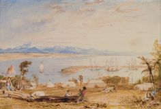 View of Nelson Haven, Tasman Gulf, New Zealand, Attributed to Charles Heaphy. The Nelson Provincial Museum, Bett Collection: AC 1025 Colonial Art, Early Settler, New Zealand, Museum, Image, Paintings, Collection, Maori, Painting Art