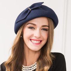 Vintage bow wool beret hat for women fashion winter felt hats