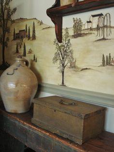 primitive colonial wall mural