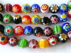 These Millifiori glass bead are multi colored with a flower on each side. They are 10mm with 38 beads on each strand.m You will receive a full strand of colorful fun beads.