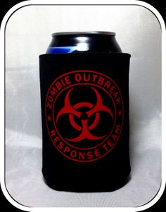 $4 - Zombie Outbreak Response Team Hazmat Walking Dead Can Koozie Pick your colors