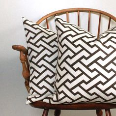 """PAIR of Quadrille Aga Brown on Tint 20"""" pillow covers - Pattern on Both Sides - Last Pair"""
