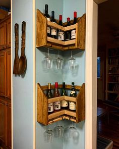 Corner Wine Rack You are in the right place about DIY Wine Rack instructions Here we offer you the most beautiful pictures about the DIY Wine Rack for counter you are looking for. When you examine the Corner Liquor Cabinet, Corner Wine Rack, Wine Rack Wall, Corner Home Bar, Dining Room Corner, Small Wine Racks, Home Bar Rooms, Wine Rack Design, Wood Shop Projects