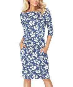 Look what I found on #zulily! Blue Floral Off-Shoulder Dress #zulilyfinds