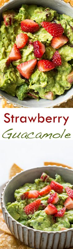 Strawberry guacamole! Chunky avocado guacamole with bursts of tart sweet juiciness from strawberries. On SimplyRecipes.com