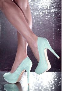 Sexy Glitter Turquoise Light Blue Green Platform Pump Stiletto High Heel ShoeS