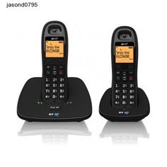 Twin Pack Phone BT Cordless Telephone Long Range Handset Charger Home House Hall