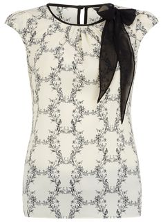 Print Top with Bow