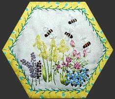 Hexagon crazy quilt block - bees