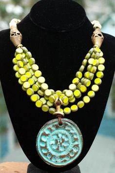 d4f41f09891 Designer Multi-Strand Lime and Turquoise Medallion Statement Necklace