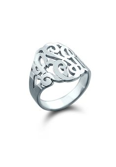 14k White Gold Three Initial Cut Out Monogram Ring