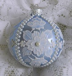 Soft Blue Floral MUD Ornament with Pearls.
