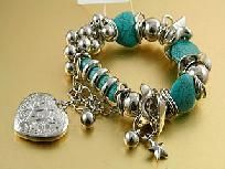 TURQUOISE HEART STRETCH CHARM BRACELET