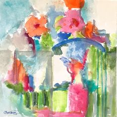 """Garden Gate Watercolor in bright and cheerful color. A fun abstract landscape original. 10""""x10"""" watercolorpainting by Laura Trevey - Free Shipping"""