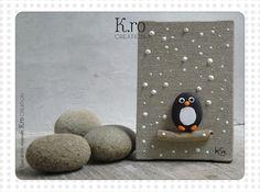 """Petit cadre pingouin """"Tichou"""" sous la neige"""