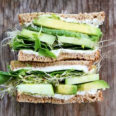 Cucumber and Avocado Sandwich - made with cucumber, avocado, lettuce, sprouts, and herbed goat cheese.