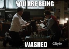 You are being washed. XD Oh, Bear.
