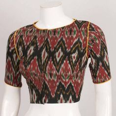 Buy online Handcrafted Ikat Cotton Blouse with Piping 10038032 Birthday Greetings For Daughter, Blouse Neck Designs, Pattern Sewing, Blouse Online, Cotton Blouses, Ikat, Printed Cotton, Silk, Quotes