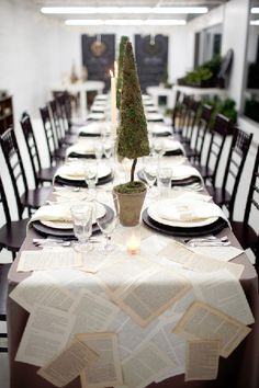 pages from a favorite story make an inexpensive and easy table runner | !!