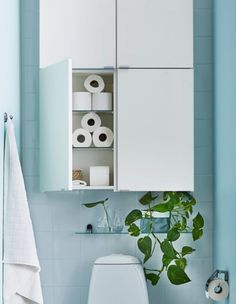 13 Ways to Add Storage to the Walls of Your Bathroom, Small Bathroom Best Wall Shelves Storage Ideas Bathroom Wall Storage, Bathroom Wall Cabinets, Toilet Storage, Bathroom Organization, Bathroom Ideas, Bathroom Remodeling, Bathroom Interior, Bathroom Vanities, Bathroom Marble