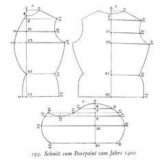 Pourpoint/jerkin pattern, ca. 1400