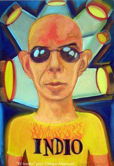 Retrato del Indio Solari. Lider de la legendaria banda Patricio Rey y sus redonditos de ricota . Cuadro en venta de la Serie Musica