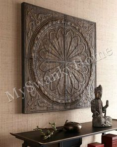 "Extra Large 44"" CALLIMUS Wood Wall Decor Art SQUARE by Horchow. $437.00. Size"