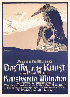 RARE Original Vintage 1900s German Animal Art Poster