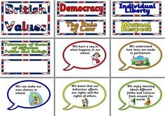 Free Printable classroom display posters based around British Values.  Includes Democracy, Law, Liberty, Respect and Tolerance.