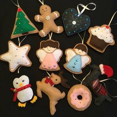 Gingerbread ornaments, Christmas decorations, felt Christmas ornaments, felt ornaments, Angel orname Christmas Bunting, Felt Christmas Decorations, Felt Christmas Ornaments, Christmas Gingerbread Men, Gingerbread Ornaments, Jesse Tree Ornaments, Angel Ornaments, Felt Ornaments Patterns, Christmas Projects