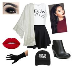 """"""":/"""" by gentianakadiolli on Polyvore featuring Miss Selfridge, WithChic, Calypso St. Barth, Fergalicious, Lime Crime and Topshop"""
