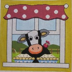 Pocket Full of Stitches, annie lane cow needlepoint canvas