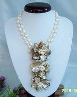 natural double pearl chain triple shell flower necklace