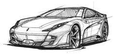 Ferrari E12 Sketch. The electric successor to the 812 Superfast.