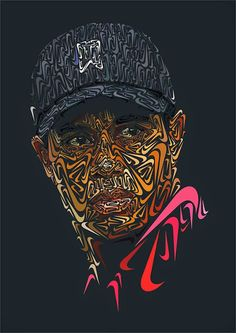 How cool is this? A portrait of Tiger Woods using nothing but Nike swooshes.