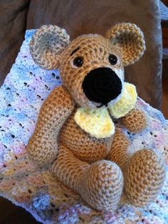 Crocheted Snuggle Buddy bear @memawscountrycrafts - etsy