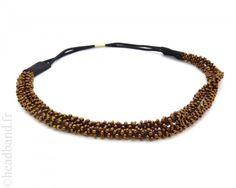 Headband double à perles marron - 7,00 €