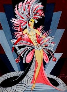 Costume Design by Alec Shanks (British) illustration for the Folies Bergère, title unknown, medium unknown, ca. Showgirl Costume, Vegas Showgirl, Art Nouveau, Art Deco, Theatre Costumes, Everything Pink, Showgirls, Flappers, Fashion Sketches