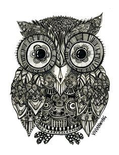 Zentangle Owl Fineliner Pen Drawing Handmade by vivianhitsugayaArt