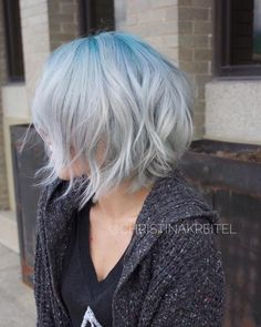 Winter ice by Christina Kreitel! On pre-lighened hair, she used #KenraColorCreative Blue and Teal at the root. Toned all over with #KenraColor Rapid Toner SV.