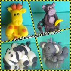 Items similar to Set Of Baby Monkey, Zebra, Elephant and Giraffe Cake Topper. Sizes X X on Etsy Edible Cake Toppers, Fondant Toppers, Fondant Animals, Cupcake Cookies, Cupcakes, Jungle Theme, Cake Pops, Monkey, Elephant
