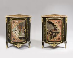 Pair of corners stamped Delorme, Louis XV, Coromandel lacquer, varnish Martin and gilded bronze; European Furniture, French Furniture, Classic Furniture, Art Furniture, Antique Furniture, Corner Cupboard, Bronze, Laque, Cabinet Makers