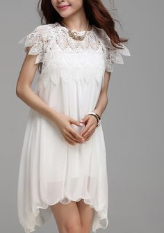 Round Neck Half Sleeve Chiffon Lace Casual Dress