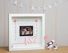 Pink Puffin Crafts | Framed Collection | £24 | Personalised Heartbeat Baby Scan Frame www.pinkpuffincrafts.co.uk