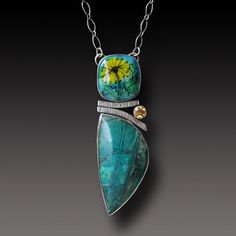 Chrysocolla Necklace Sterling Silver Necklace with by xaosart
